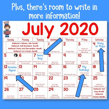 Special Days Calendar 2021 Calendar of Fun 2020   2021 School Year Special Days and Fun