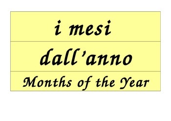 Months of the Year Calendar in Italian