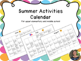 Summer Activities Calendar for upper elementary and middle school