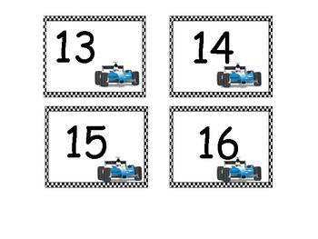 Calendar pieces with a race car theme