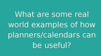 Calendar/planner Lesson