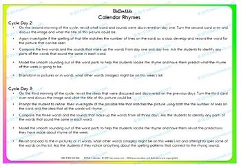 Calendar routine - Exploring common E, I and O rimes through rhyme