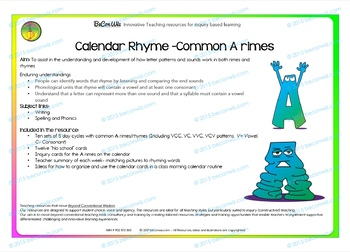 Calendar routines- Investigating A rimes through rhyme