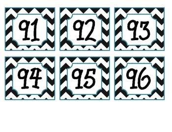 Calendar #'s 1-100 Black Chevron & Teal