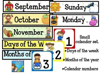 Calendar set days of the week months of the year