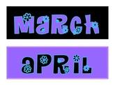Calendar set purple and turquoise