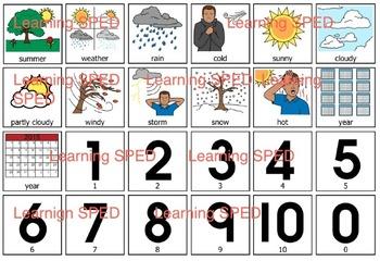 Calendar symbols weather special ed elementary calendar days of week weather