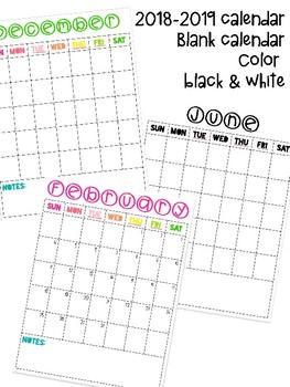 Calendar teacher planner 2018 2019, blank, color, black and white