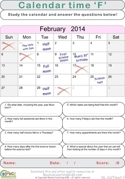 Calendar time (6 Visual perception sheets)