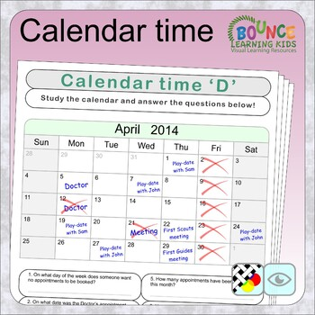 Calendar time (6 distance learning worksheets for Visual perception)