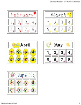 Calendar title and numbers