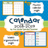 Calendar with Weekly Checklist (2018-2019)
