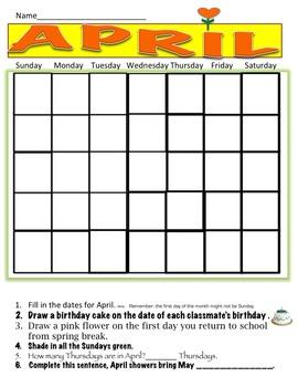 Calendar worksheet April Free