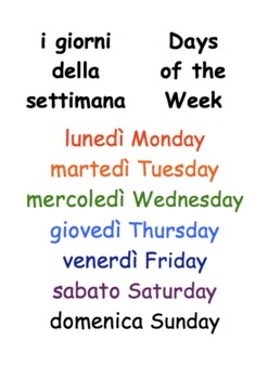 Days of the Week calendar poster in Italian