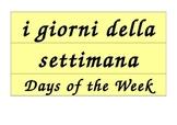 Days of the Week Calendar in Italian