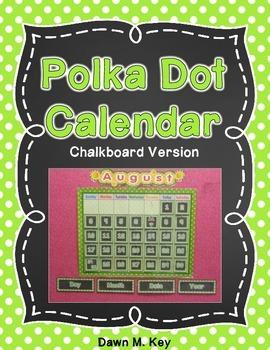 Calendar~Polka Dot and Chalkboard