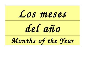 Months of the Year Calendar in Spanish