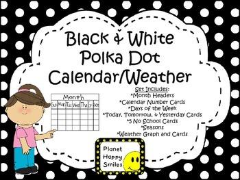 Calendar/Weather Set ~ Polka Dot B/W Print