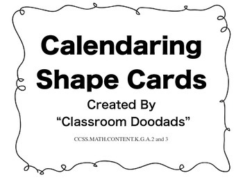 Calendaring Shape Cards