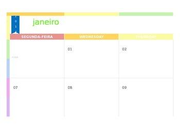 Rainbow themed template calendar