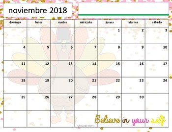 Calendario Académico 2018-2019 Confetti