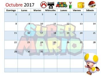 Calendario Académico agosto 2017 a mayo 2018 Super MArio