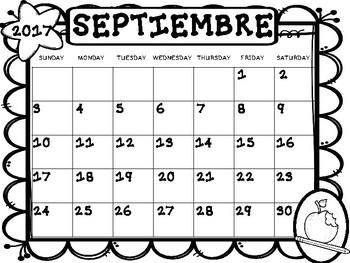 Calendario Escolar en blanco/Blank School Year Calendar 2017-2018