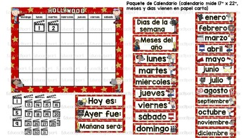 Calendario Hollywood - Spanish Hollywood theme Calendar Pack