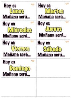 Calendario Hoy Ayer Mañana Math Center K-1st Dual Language Español-Spanish