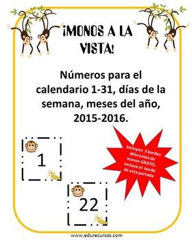 Calendario Monos/Calendar Monkeys con ¡GRATIS! 3 Monkeys BORDERS!