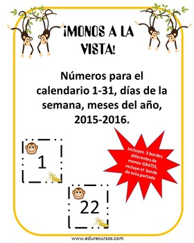 Calendario Monos/Calendar Monkeys con ¡GRATIS! 3 Monkeys BORDERS!