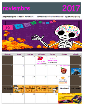 Calendario Noviembre 2016 Spanish Class. Free Calendar. Día de los muertos.