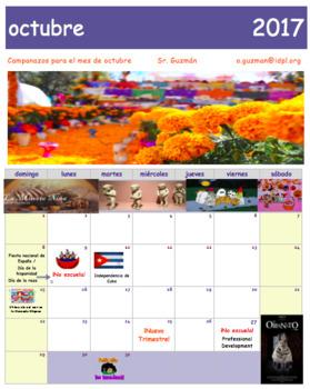 Calendario octubre 2017 Spanish Class. Free Calendar. Día de brujas