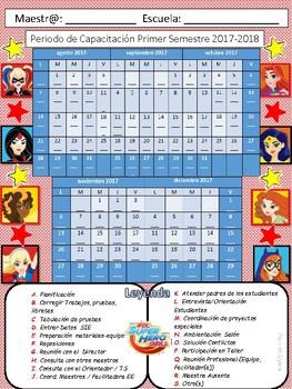 Calendario Periodo de Capacitación 2017-18 DC Super Hero Girls