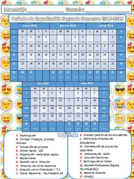 Calendario Periodo de Capacitación 2017-18  Emojis