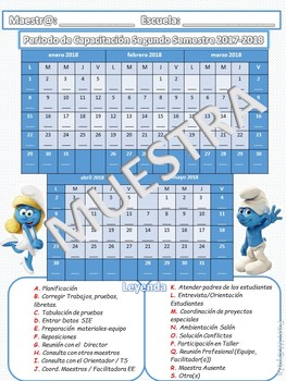 Calendario Periodo de Capacitación 2017-18 Pitufos
