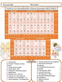 Calendario Periodo de Capacitación 2017-18  Precious Moments ANGELS