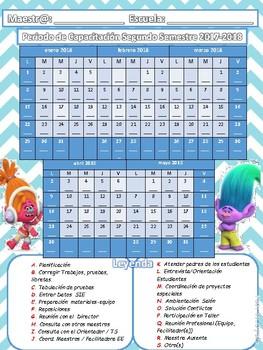 Calendario Periodo de Capacitación 2017-18 Trolls