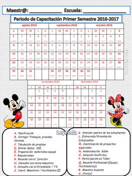 Calendario Periodo de Capacitación Mickey Minnie 2016-17