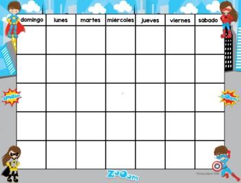 Calendario Superhéroe / Super Hero Spanish Calendar