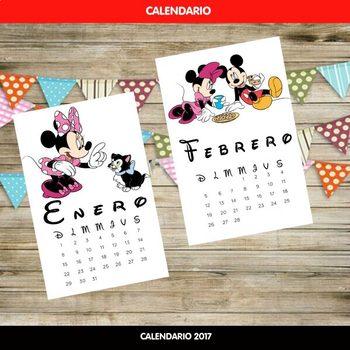 Calendario con los Personajes de Disney 2017