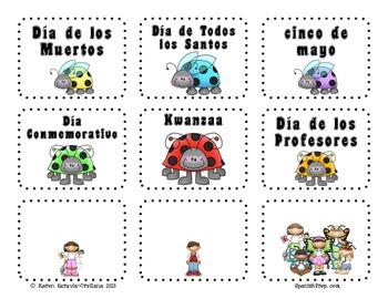 """Calendario con tema de """"Insectos"""" - Spanish Insects Calendar Set"""