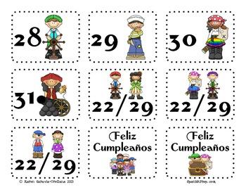 """Calendario con tema de """"Piratas"""" - Spanish Pirate Calendar Set"""