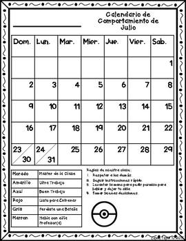 Calendario de Comportamiento 2017-2018 - Pokemon Go (Spanish)