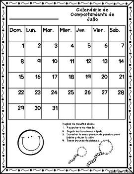 Calendario de Comportamiento 2018-2019! Dr. Seuss Inspired {No Color Chart}