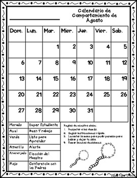 Calendario de Comportamiento -Behavior calendar 2017-2018 {Style 2}