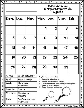 Calendario de Comportamiento -Behavior calendar 2018-2019 {Style 2}