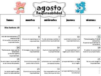 Calendario de Reflexiones/Escolar 2017-18 Care Bears
