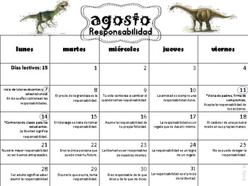 Calendario de Reflexiones/Escolar 2017-18 Dinosaurios