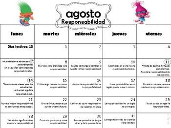Calendario de Reflexiones/Escolar 2017-18 Trolls